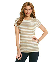 Relativity® Distressed Striped Crewneck Tee