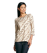 Alfred Dunner® Chelsea All Over Snake Print Tee