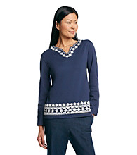 Alfred Dunner® South Hampton Crochet Detail Tunic