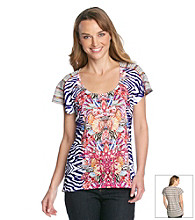 Oneworld® Rainbow Stripe Printed Top