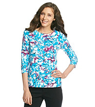 Laura Ashley® Hibiscus Floral Balletneck Tee