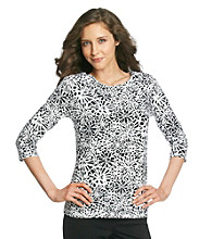 Laura Ashley® Black and White Floral Balletneck Tee