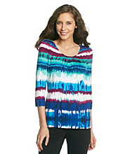 Laura Ashley® Watercolor Stripe Cinched Scoopneck Tee