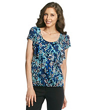 Laura Ashley® Tiny Tile Print Diagonal Ruffle Top