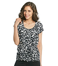 Laura Ashley® Black and White Animal Print Diagonal Ruffle Top