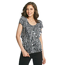 Laura Ashley® Bamboo Print Diagonal Ruffle Top