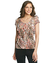 Laura Ashley® Pebble Print Diagonal Ruffle Top