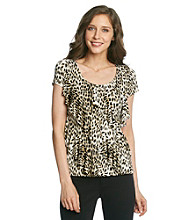 Laura Ashley® Neutral Animal Print Diagonal Ruffle Top