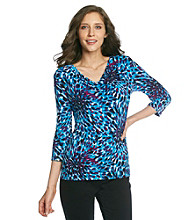 Laura Ashley® Fireworks Print Drapeneck Top