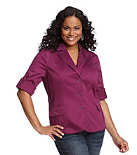 Laura Ashley® Plus Size Pleat Pocket Blazer