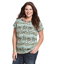 Rafaella Plus Size Scoop Neck Metal Center Ring Short Sleeve Knit