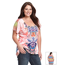 Oneworld® Plus Size High-Low Mixed Media Printed Tee