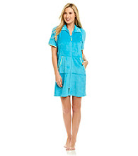 Jasmine Rose® Stripe Trim Short Zip Robe