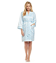 Miss Elaine® Peached Satin Short Robe