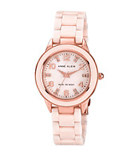 Anne Klein® Blush and Rose Goldtone Ceramic Watch
