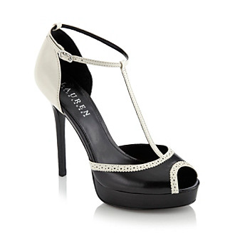 "Lauren Ralph Lauren ""Dallas"" Peep-toe Pump - Black/White"