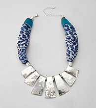 Erica Lyons® Blue/Silvertone Short Scarf Necklace