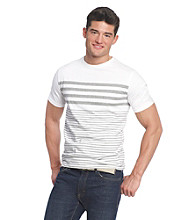 John Bartlett Consensus Short Sleeve Engineered Stripe Crew Neck Tee