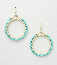 Erica Lyons® Turquoise Sea Cruise Hoop Pierced Earrings