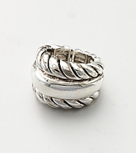 Erica Lyons® Silvertone Stretch Fashion Ring