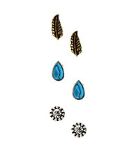Nine West Vintage America Collection® Pierced Earring Trio Set