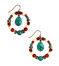 Nine West Vintage America Collection® Multi Colored Stone Orbital Drop Earrings