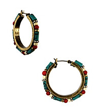 Nine West Vintage America Collection® Multi Colored Beaded Click It Hoop Earrings