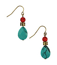 Nine West Vintage America Collection® Multi Colored Stone Double Drop Earrings
