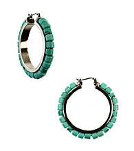 Nine West Vintage America Collection® Turquoise Beaded Click It Hoop Earrings