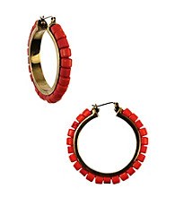 Nine West Vintage America Collection® Coral Beaded Click It Hoop Earrings