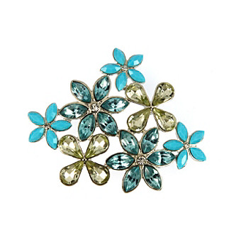 Napier® Silvertone and Multi Colored Blue Stone Flower Cluster Pin In Gift Box