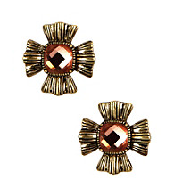 Napier® Worn Goldtone & Topaz Vintage Inspired Floral Motif Pierced Stud Earrings