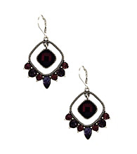 Napier® Worn Silvertone & Purple Vintage Inspired Chandelier Earrings