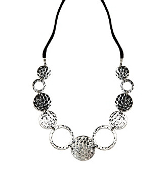 "Nine West Vintage America Collection® 16"" Adjustable Silvertone and Suede Coin Fronal Necklace"