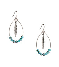 Lucky Brand® Silvertone & Turquoise Oblong Feather Hoop Earrings