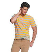 John Bartlett Consensus Short Sleeve V-Neck Jersey Knit Striped Tee
