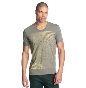 "Guess Men's Iron Grey Short Sleeve ""No Code"" V Neck Graphic Tee"
