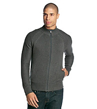 Guess Men's VooDoo Heather Full Zip Mock Neck Cardigan