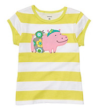 Carter's® Baby Girls' Green/White Striped Short Sleeve Hippo Tee