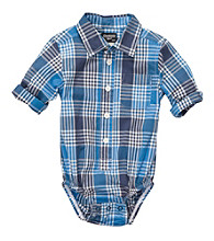 OshKosh B'Gosh® Baby Boys' Blue Plaid Long Sleeve Woven Bodysuit