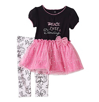 Vitamins Baby® Baby Girls' Black 2-pc. Peace and Love Tutu and Leggings Set