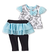Vitamins Baby® Baby Girls' Turquoise 2-pc. Butterflies Skegging Set