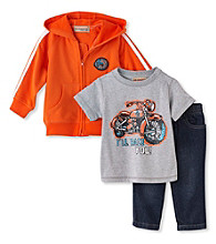 Kids Headquarters® Baby Boys' Orange 3-pc. Motorcycle Hoodie Set