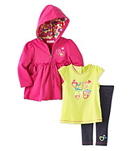 Kids Headquarters® Baby Girls' Pink 3-pc. Love Tee and Hoodie Set