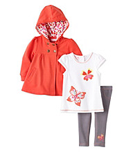 Kids Headquarters® Baby Girls' Orange 3-pc. Butterfly Hoodie Set