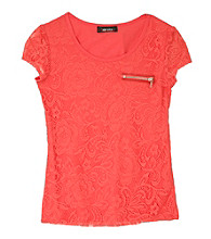 Amy Byer Girls' 7-16 Coral Short Sleeve Lace Tee