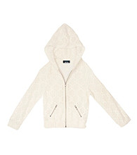 Amy Byer Girls' 7-16 White Crochet Zip Hoodie