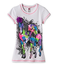Beautees Girls' 7-16 White 3D Horse Screen Tee