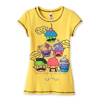 Beautees Girls' 7-16 Yellow Mustache Cupcakes Screen Tee