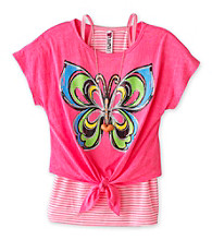 Beautees Girls' 7-16 Neon Pink Burnout Butterfly Top